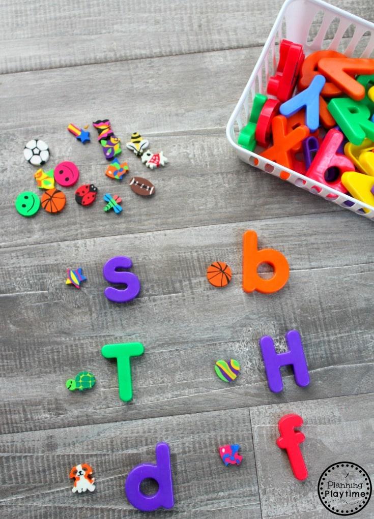 Use Mini Erasers to Teach Beginning Sounds for Preschool or Kindergarten. #preschool #minierasers #kindergarten #funlearning #planningplaytime #beginningsounsd