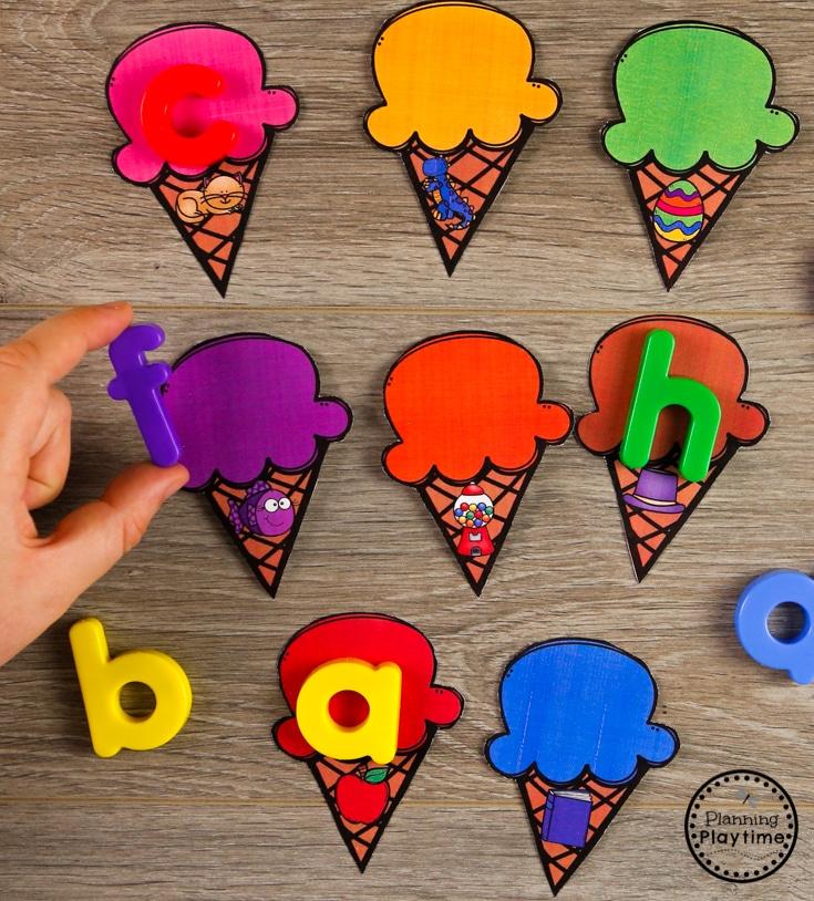 Beginning Sounds Ice Cream Cones for Preschool #beginningsounds #preschool #preschoolcenters #summerpreschool #icecreamtheme #planningplaytime