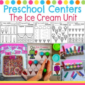 Preschool Ice Cream Theme Activities #preschool #preschoolcenters #summerpreschool #icecreamtheme #planningplaytime