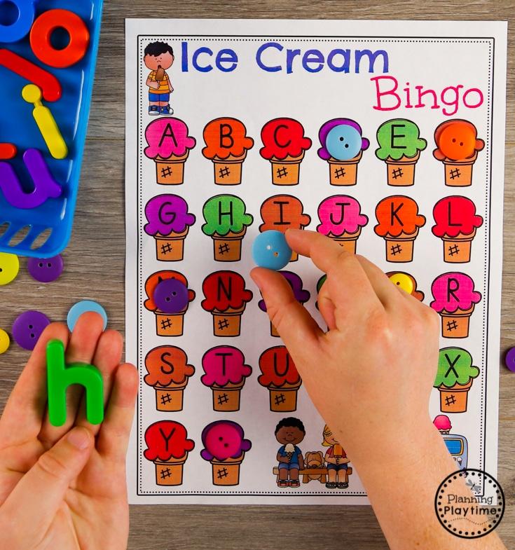 Ice Cream Theme Letter Bingo for Preschool #preschool #preschoolcenters #summerpreschool #icecreamtheme #planningplaytime #alphabet
