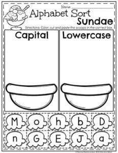 Letter Sorting Worksheets - Preschool Ice Cream Theme #letterworksheets #alphabetworksheets #preschoolworksheets #icecreamworksheets #summerworksheets #planningplaytime