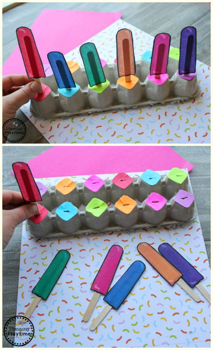 Preschool Color Matching Game - Ice Cream Theme #preschool #preschoolcenters #summerpreschool #icecreamtheme #planningplaytime #preschoolcolors