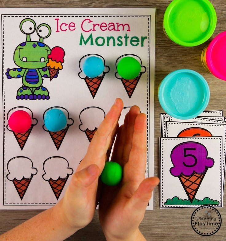 Preschool Counting Game with the Ice Cream Monster #preschool #preschoolcenters #summerpreschool #icecreamtheme #planningplaytime #preschoolcounting