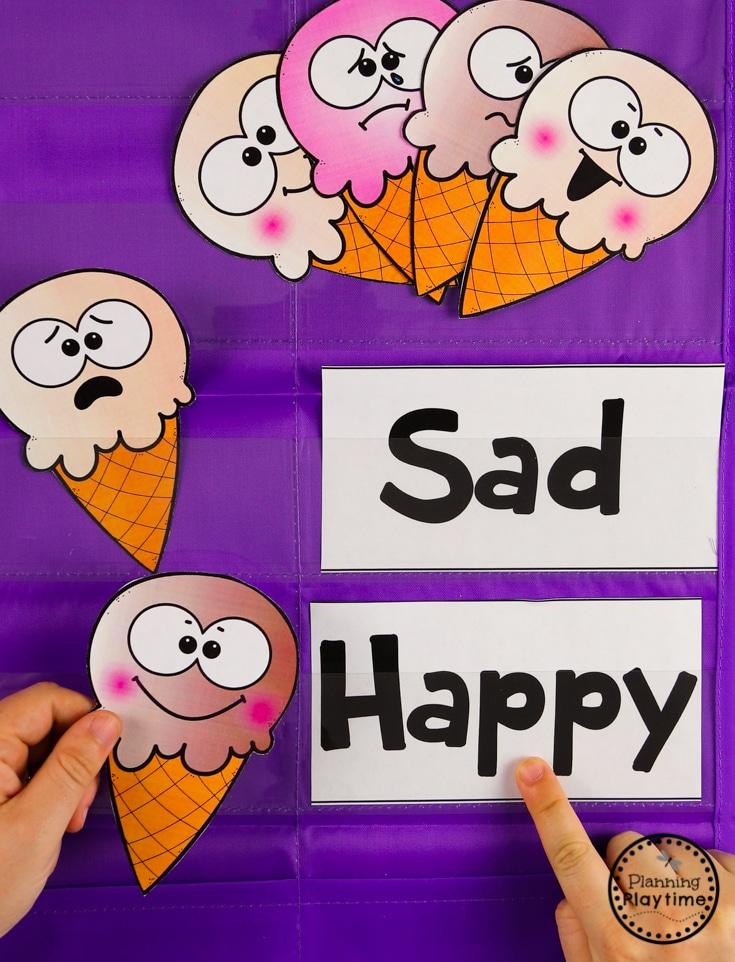 Preschool Feelings Activity - Ice Cream Theme