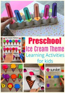 Preschool Ice Cream Theme Activities #preschool #preschoolcenters #summerpreschool #icecreamtheme #planningplaytime