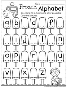 Preschool Ice Cream Theme Worksheets - Popsicle Alphabet #alphabetworksheets #preschoolworksheets #icecreamworksheets #summerworksheets #planningplaytime