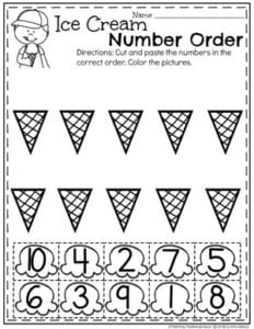 Preschool Ice Cream Worksheets - Number Order #countingworksheets #numberorder #preschoolworksheets #icecreamworksheets #summerworksheets #planningplaytime