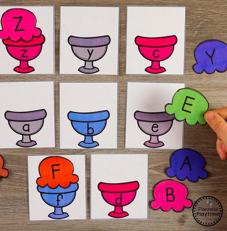 Preschool Letter Matching Puzzles - Ice Cream Theme #preschool #preschoolcenters #summerpreschool #icecreamtheme #planningplaytime #lettermatching #alphabet