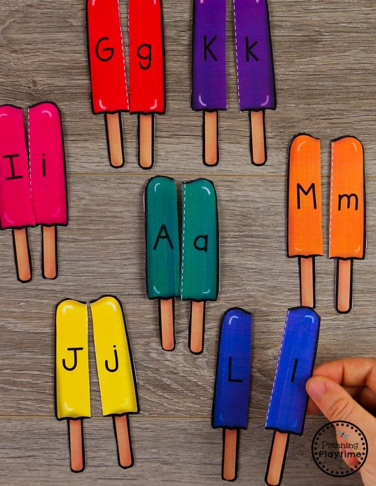 Preschool Letter Matching Puzzles - Summer Theme