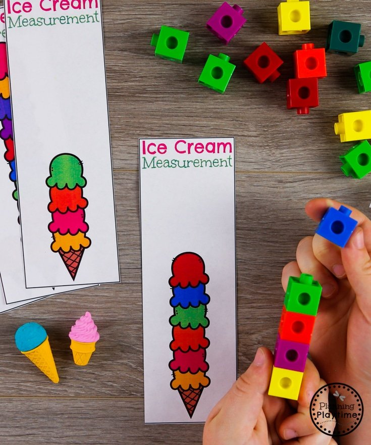 Preschool Measurement Activity with Ice Cream and Snap Cubes #preschool #preschoolcenters #summerpreschool #icecreamtheme #planningplaytime #preschoolmath #measurement