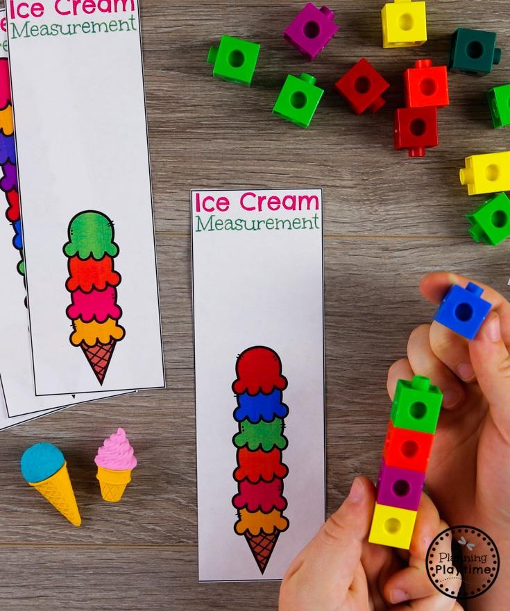 Preschool Measurement Activity with Ice Cream and Snap Cubes #preschool #preschoolcenters #summerpreschool #icecreamtheme #planningplaytime #preschoolmath #measurement