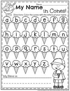 Preschool Name Worksheet - Ice Cream Theme #nameworksheets #preschoolworksheets #icecreamworksheets #summerworksheets #planningplaytime