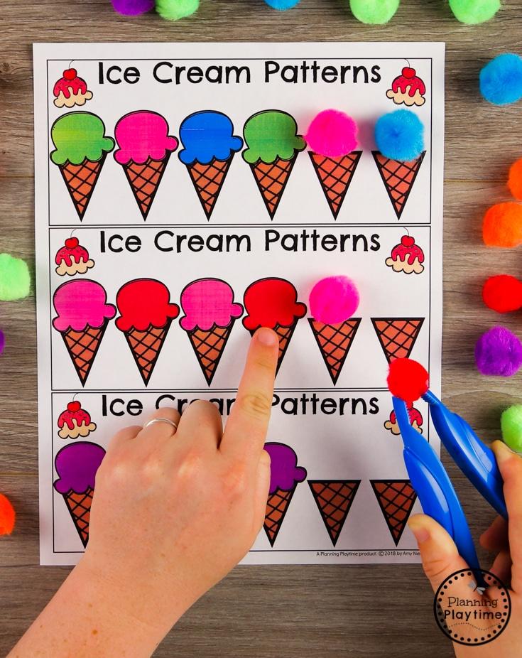 Preschool Patterns Game - Ice Cream Colors #preschool #preschoolcenters #summerpreschool #icecreamtheme #planningplaytime #preschoolpatterns