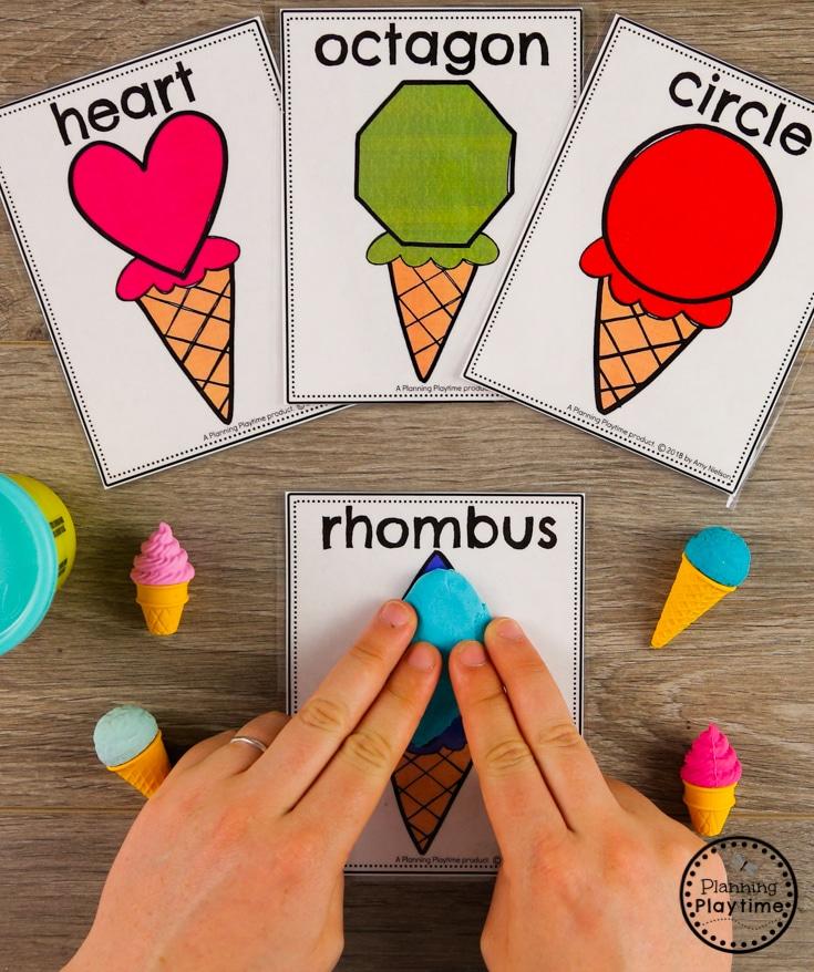 Preschool Shapes Game - Making Shape Cones with Playdough #preschool #preschoolcenters #summerpreschool #icecreamtheme #planningplaytime #preschoolshapes
