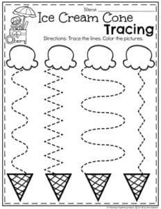 Preschool Tracing Worksheets in an Ice Cream Theme #tracingworksheets #preschooltracing #preschoolworksheets #icecreamworksheets #summerworksheets #planningplaytime