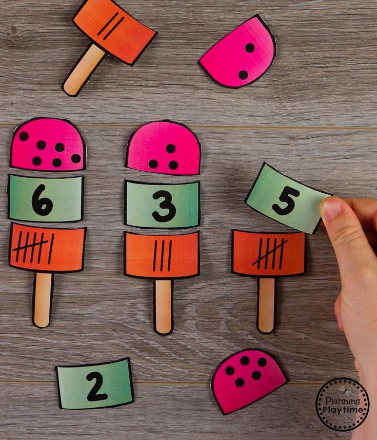 Subitizing Puzzles for Preschool Centers #preschool #preschoolcenters #summerpreschool #icecreamtheme #planningplaytime #subitizing
