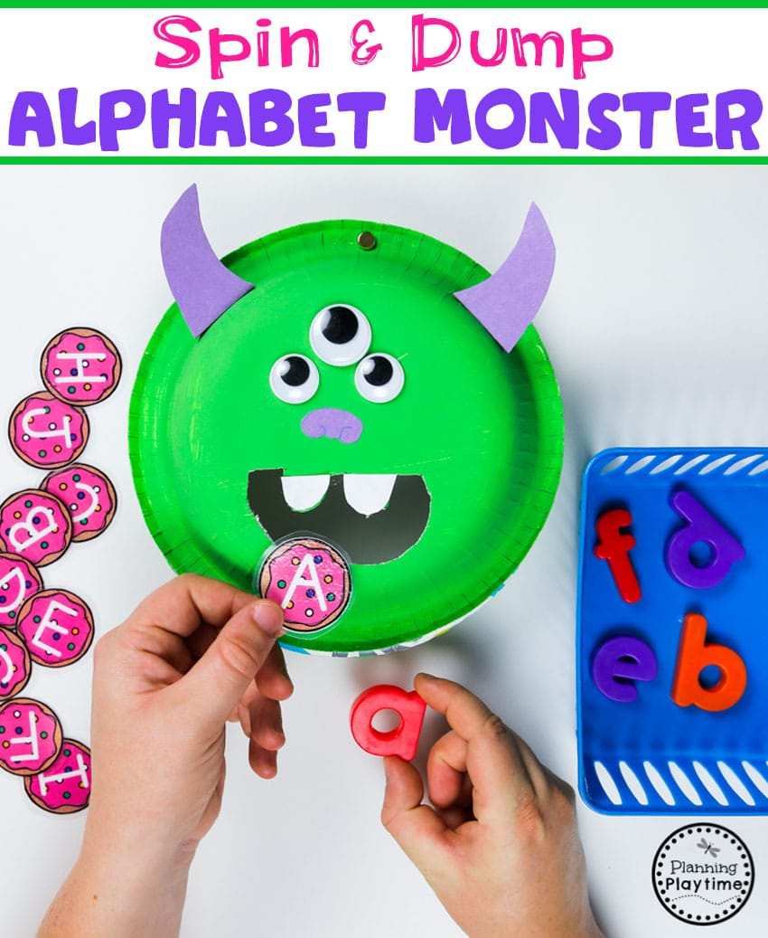 Alphabet Letter Monster - Feed the monster. Then spin to dump the letters out. #backtoschool #monstertheme #preschool #planningplaytime