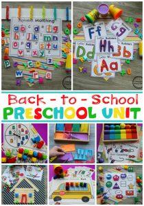 Back to School Preschool Unit #backtoschool #preschool #preschoolworksheets #preschoolcenters #planningplaytime