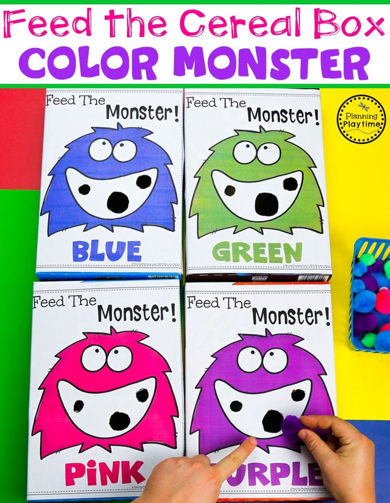 Color Sorting Game for Preschool - Easy DIY Cereal Box Monster and Pom Poms #backtoschool #monstertheme #preschool #planningplaytime