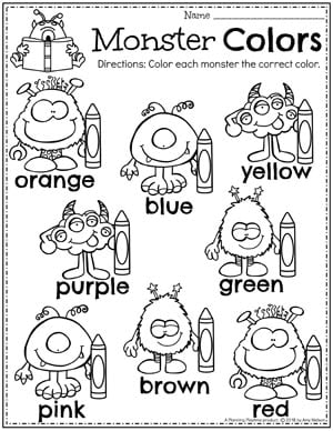 Cute Preschool Color Worksheets Monster Theme. #colorworksheets #preschoolworksheets #monstertheme #planningplaytime