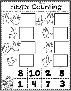 Fingers to count next to boxes. Cut and paste number boxes to match to the fingers.