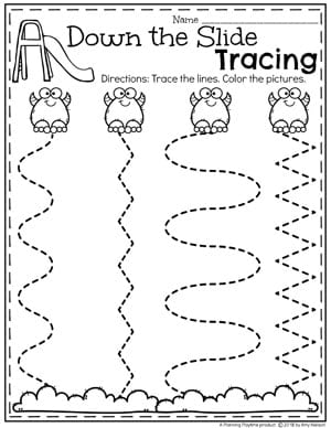 Monster Theme Preschool Tracing Worksheets #preschoolworksheets #monstertheme #planningplaytime #tracingworksheets
