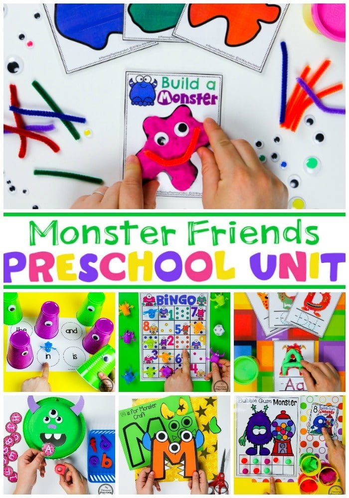 Monster Theme for Preschool - Math and Literacy Centers #backtoschool #monstertheme #preschool #planningplaytime