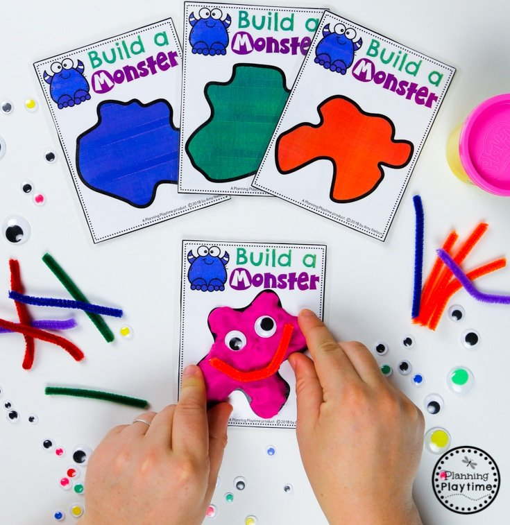 Playing with Shapes Activity - Preschool Monster Crafts #backtoschool #monstertheme #preschool #planningplaytime