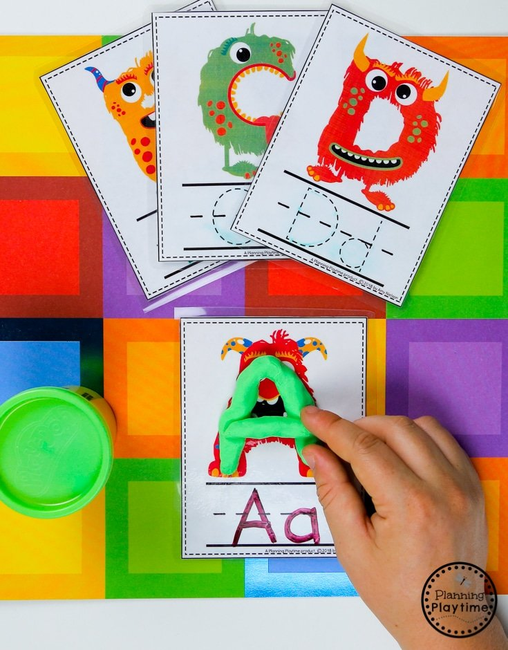 Preschool Alphabet Activities - Build the Letters #backtoschool #monstertheme #preschool #planningplaytime