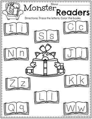 Preschool Alphabet Worksheets - Tracing Letters Monster Theme 2 #preschoolworksheets #monstertheme #planningplaytime #alphabetworksheets