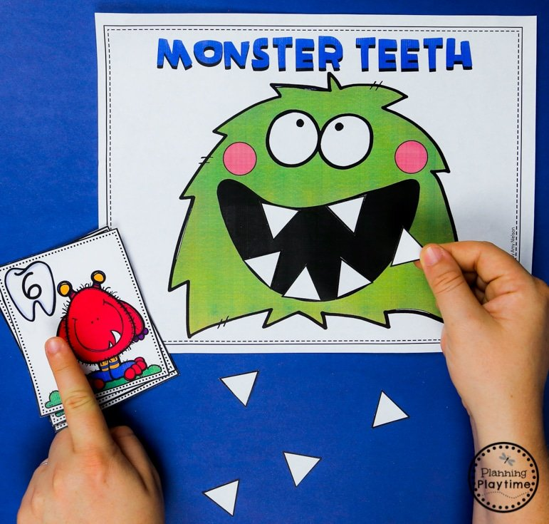 Preschool Counting - How many Teeth in the Monster #backtoschool #monstertheme #preschool #planningplaytime