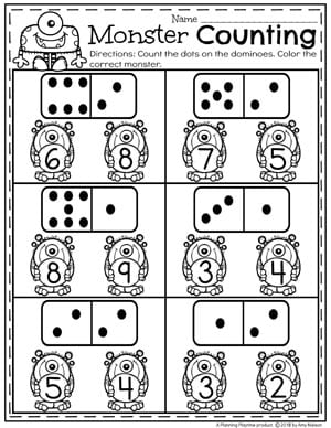Preschool Counting Worksheets - Domino Counting Activity #numberworksheets #preschoolworksheets #monstertheme #planningplaytime
