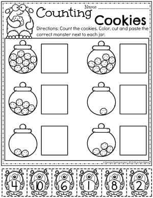 Preschool Counting Worksheets - Monster Theme #preschoolworksheets #monstertheme #planningplaytime #countingworksheets