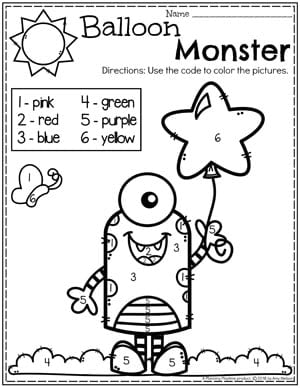 Preschool Math Worksheets - Monster Dot to Dot Coloring Page #preschoolworksheets #monstertheme #planningplaytime #preschoolmath