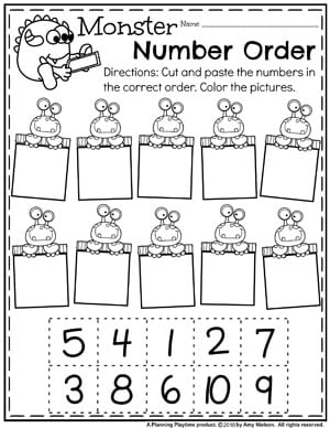 Preschool Math Worksheets - Monster Number Order #preschoolworksheets #monstertheme #planningplaytime #mathworksheets