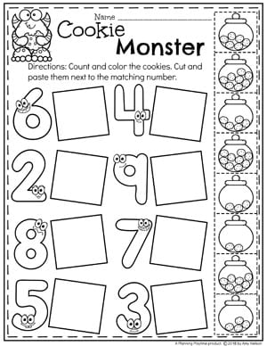 Preschool Math Worksheets - Monster Theme ##preschoolworksheets #monstertheme #planningplaytime #numberworksheets