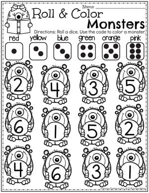 Preschool Monster Worksheets - Roll and Color #preschoolworksheets #monstertheme #planningplaytime #countingworksheets