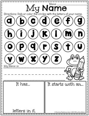 alphabet letters in circles. a line to write name. Boxes to write number of letters in name and beginning letter.
