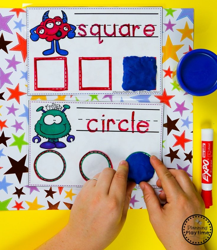 Preschool Shapes Activity Cards - Monster theme #backtoschool #monstertheme #preschool #planningplaytime