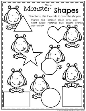 Preschool Shapes Worksheets in a Monster Theme #preschoolworksheets #monstertheme #planningplaytime #shapesworksheets