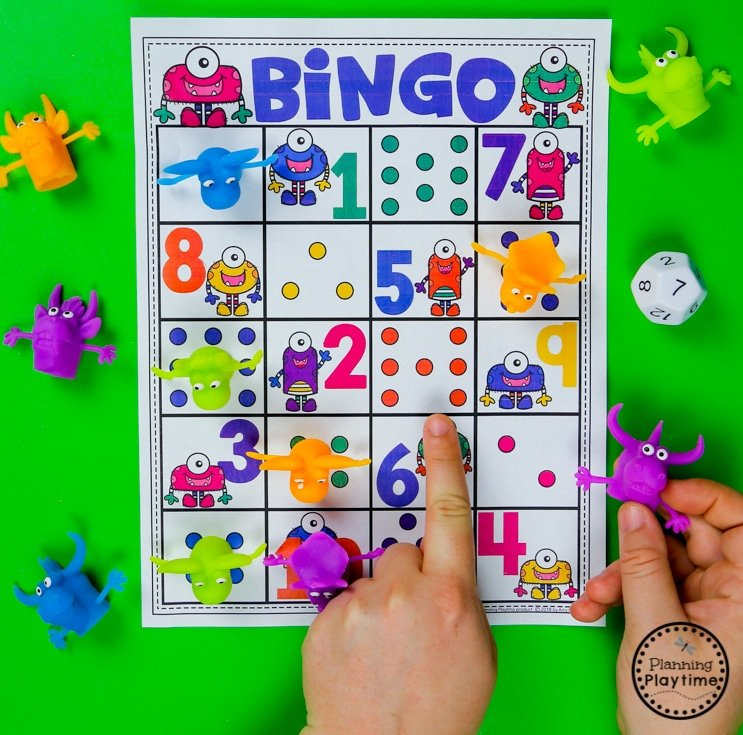 Roll and Count Monster Bingo - Preschool Math Game #backtoschool #monstertheme #preschool #planningplaytime