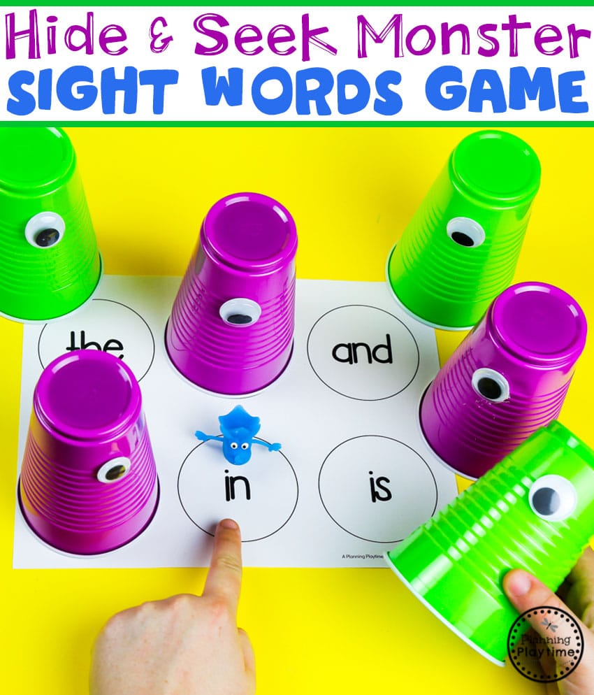 Sight Words Game for a Monster Theme #backtoschool #monstertheme #preschool #planningplaytime #sightwords