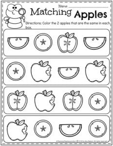 Apple Theme Worksheets for Preschool - Same or Different