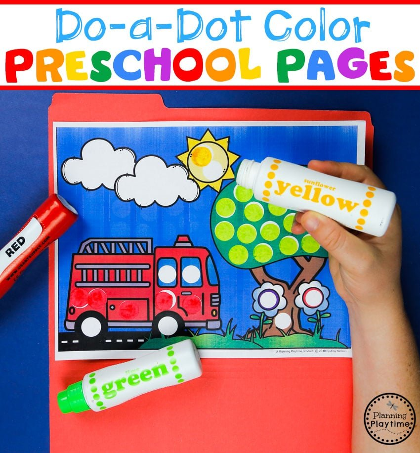 Do a Dot Preschool Coloring Pages #preschool #colorrecognition #planningplaytime