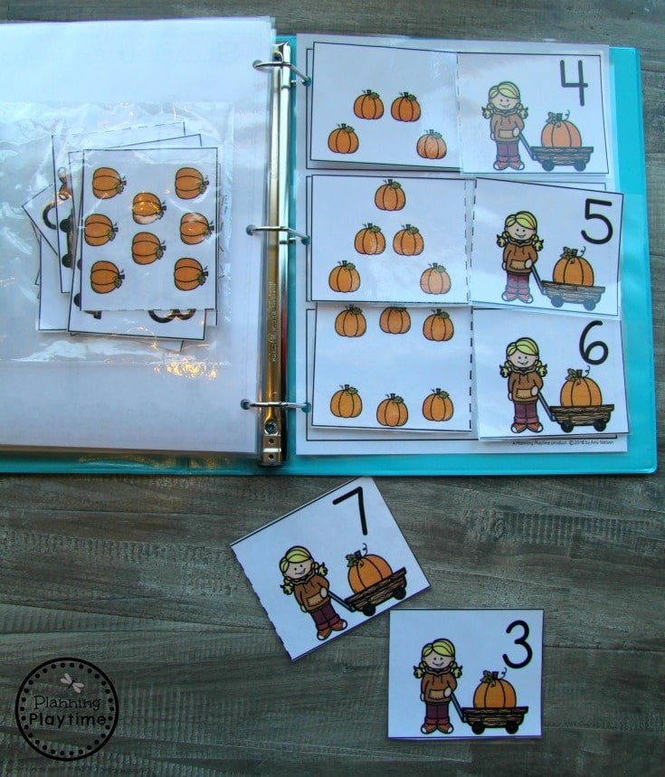 Fall Counting Preschool Interactive Binder - Pumpkin Counting