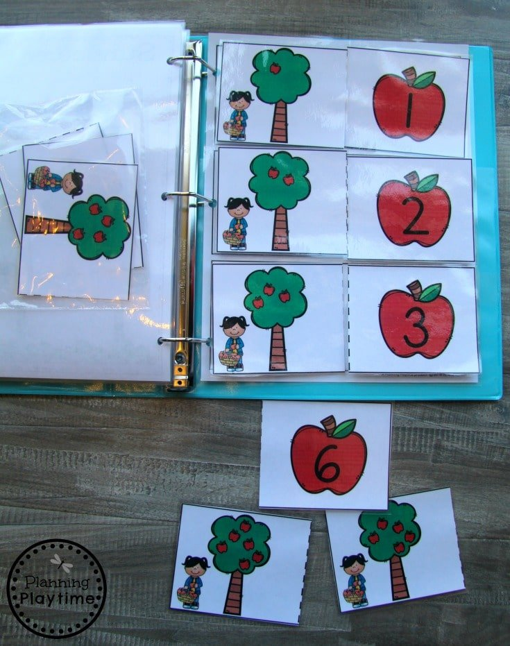 Fall Preschool Interactive Binder - Apple Counting