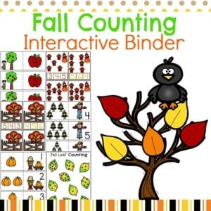 Fall Preschool Math Interactive Binder Cover