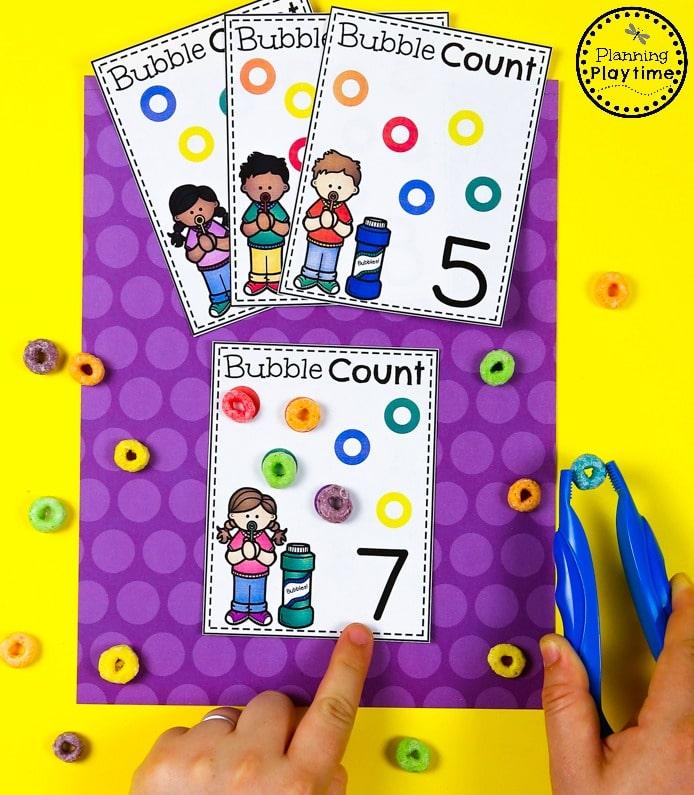 Fun Cereal Counting Cards for Preschool #preschool #planningplaytime #preschoolmath