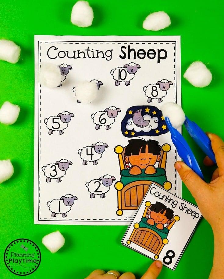 Fun Counting Sheep activity for Kids - Preschool Numbers Unit #preschool #planningplaytime #preschoolmath