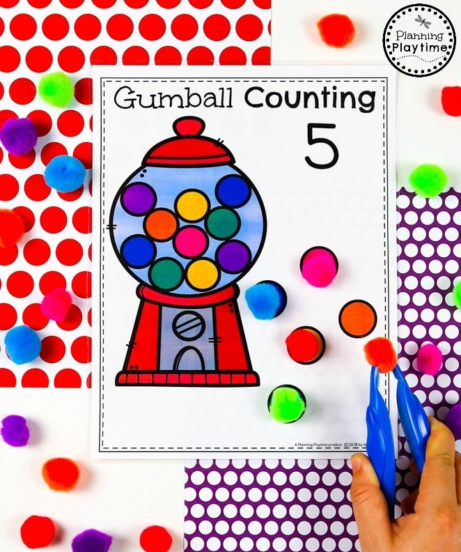 Gumball Counting Game for Preschool - Preschool Counting Math Unit#preschool #planningplaytime #preschoolmath